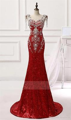 Sequined Bead Mermaid Evening Dress Formal Pageant Prom Ball Gown Long Red Party