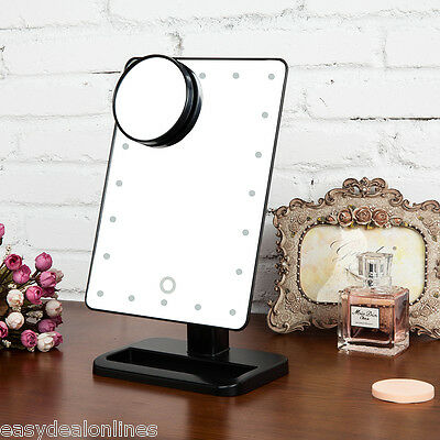 10X Magnifying 20 LED Makeup Mirror Touch Screen Lighted Cosmetic Vanity Mirror