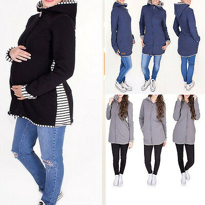 Red Jacket Kangaroo Maternity Outerwear Coat Pregnant Women Baby Carrier S-2XL