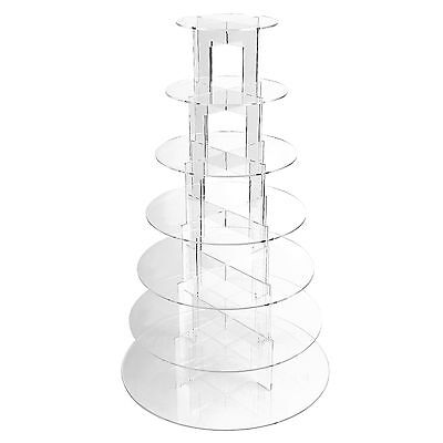 7 Tier Clear Acrylic Cup Cake Cupcake Stand Birthday Wedding Party Display