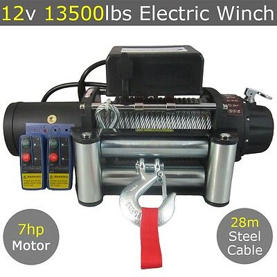 12v 13500lbs Electric Winch 28m Steel Cable Wireless 4WD 13000LBS 12000LBS