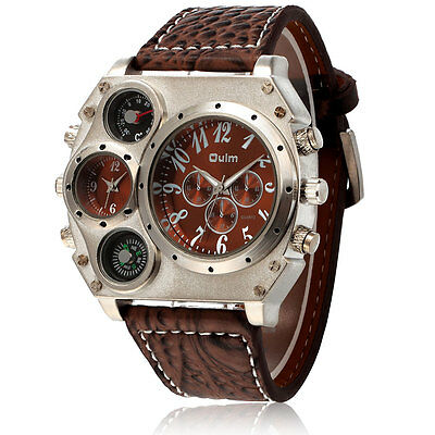 Charming Men Quartz Sport Stainless Steel Dial Leather Band Wrist Watch