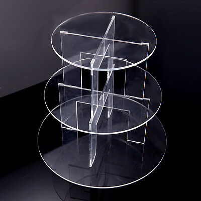 3 Tiers Clear Acrylic Cup Cake Cupcake Stand Wedding Party Display holder