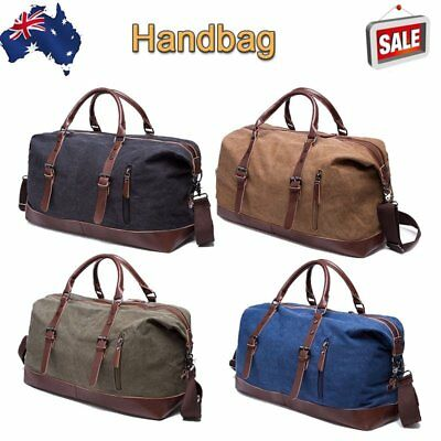 Mens Sports Duffle Bag Canvas Overnight Weekend Gym Travel Messenger School Bag
