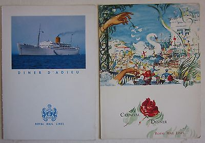 1962 R.M.S. ANDES lot 2 Carnival - Farewell dinner menù card ROYAL MAIL LINES