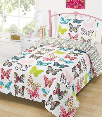 Girls Butterfly Bedding Polyester Duvet Cover And Pillowcase Set Single Bed Size