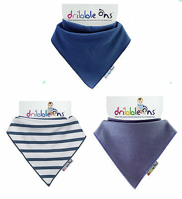 Dribble Ons Bandana Bib Baby Boys 3 Pack Nautical Stripe, Navy & Blueberry