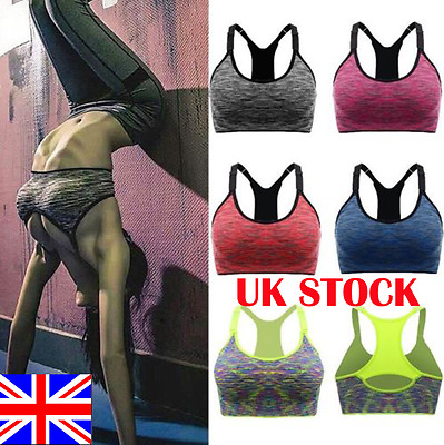 UK Women Comfort Seamless Bra Ladies Padded Sports Bra Tank Top Yoga Vest Bralet