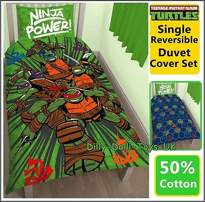 Teenage Mutant Turtles NINJA POWER Single Duvet Cover Bed Set 50% Cotton New