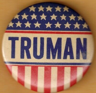"""Rare Harry Truman """"Stars and Stripes"""" Campaign Button from 1948"""