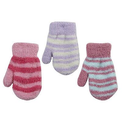 Infant Baby Girls Winter Mittens Warm Stripe Fleece Gloves Mitts New TICK TOCK