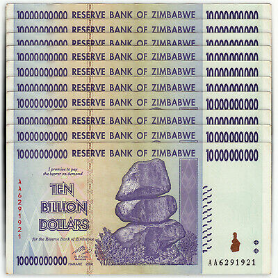 ZIMBABWE 10 Billion Dollars X 10 PCS 2008 P-85 Trillion Series 1/10 Bundle XF-AU