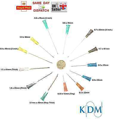 Needles Kdm Kd-Fine Sterile Choice Of Qty & 13 Sizes Tiny Short Thick Fast Shipp