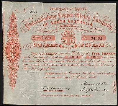 Yudananutana Copper Mining Company of South Australia, 5 shares of £3, 1862