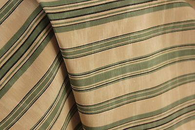 Vintage watered silk fabric green stripes French c 1940's old material