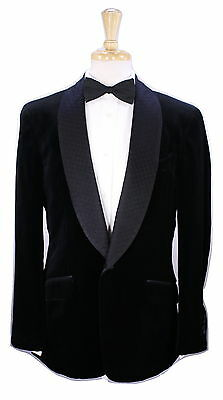 * ERMENGILDO ZEGNA * Recent Black Velvet Shawl Lapel 1B Dinner Jacket Blazer 40R