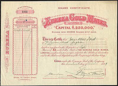 Australia: Eureka Gold Mines Ltd., £1 shares, 1899