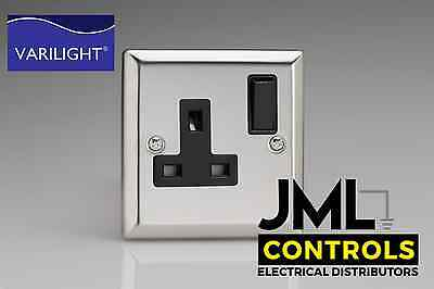 New Polished Chrome Silver Light Switches Double Sockets / Outlets Black Insert