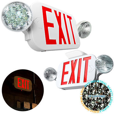 LED Exit Sign & Emergency Light – High Output - RED Compact Combo UL COMBO NEW