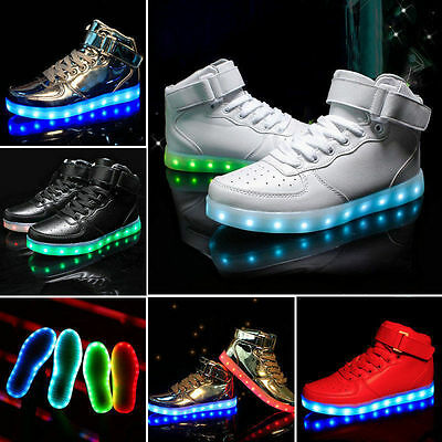 Women Men LED Light Up Trainer Lace Up High Top Luminous Casual Shoes Sneakers++