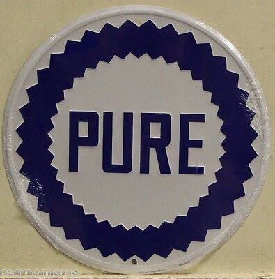 "PURE OIL CO. 12"" Embossed Metal Sign gasoline motor oil service station gas"