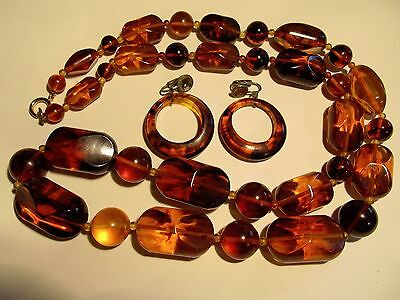 Vtg Antique Amber Graduated Necklace & Earrings Set