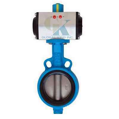 "DN125 5"" Double Acting Pneumatic Butterfly Valve Wafer Type EPDM Sealing"