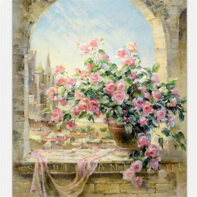 "20""*16"" DIY Paint By Number Kit Digital Oil Painting Canvas Flowers Window Sky A"