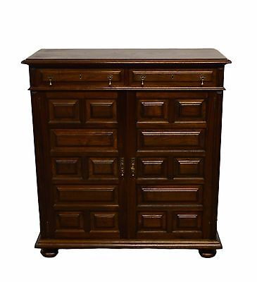 William and Mary Pilgrim Style Oak 2 Door Cabinet Bar Liquor Drinks w. key