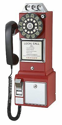 Crosley CR56-RE 1950s Payphone with Push Button Technology Red