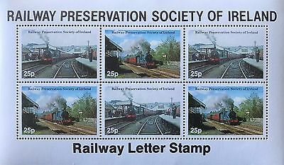 Railway Preservation Society of Ireland Railway Letter Stamps Trains 25p