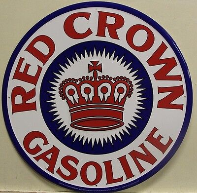 "RED CROWN GASOLINE 24"" Metal Sign Large gas & oil auto service embossed"