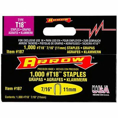 Arrow Fastener 187 Genuine T18 Staples, 1,000-Pack