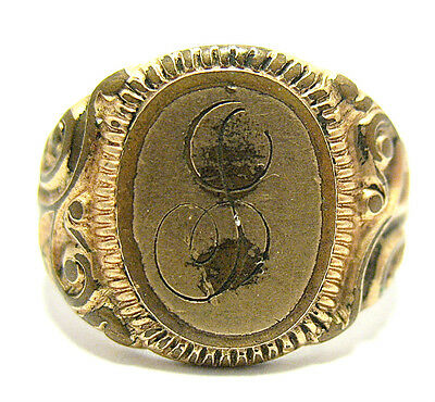 Victorian Gold Filled Signet Initial Ring Size 5.5  Letter G?   6.3 Grams
