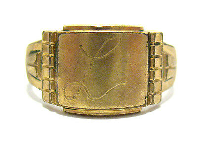 "Victorian 12K Gold Filled Signet Initial Ring Size 10.25  4.2 Grams 8 Mm ""l"""