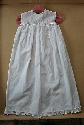 Vintage 'Rob Roy' Baby Gown Sleeveless Cotton White 64cm long - simple - cool