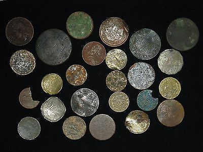lot of 25 dirty old beat up cull coins mostly foreign one silver