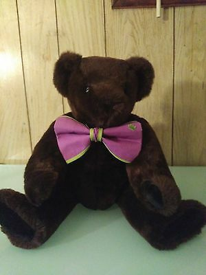 Chocolate Brown Vermont Teddy Bear w/Green and Purple Bow Tie