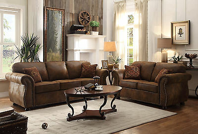WESTWOOD-New Transitional Brown Microfiber Sofa Couch Set Living Room Furniture