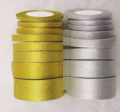 25 Yards Roll Gold/Silver Ribbon Party Wedding Favor 3mm-50mm - BUY 4 GET 1 FREE