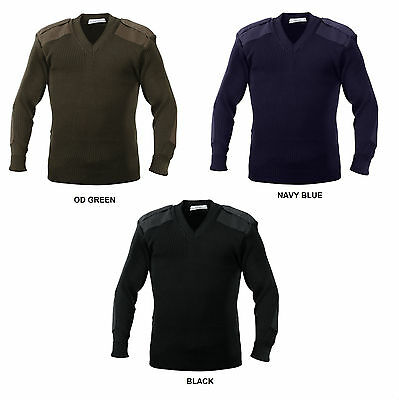 Military Style Sweater V-Neck Pullover US Army Navy Marines USAF Commando Seals