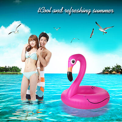 Inflatable Swim Float Ring Raft Pink Giant Flamingo Shaped Pool Float Water Fun