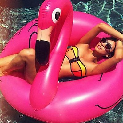 Swimming Pool Inflatable Swim Ring Giant Rideable Pink Flamingo Float Toy UK