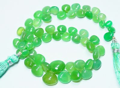 """85Cts. 8"""" 5-10 Mm Natural Australian Smooth Chrysoprase Heart Shape Briolettes"""