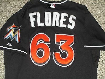 Kendrys Flores size 46 #63 2015 Miami Marlins Game used Jersey Black