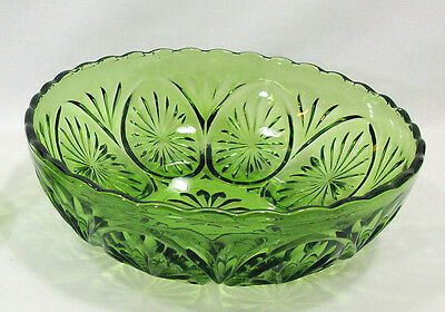 Anchor Hocking Star & Cameo Green Vegetable Bowl Salad Serving Mid Century