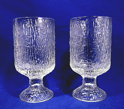 2 Vintage Indiana Glass Crystal Ice 12 oz Goblets Footed Iced Tea Textured