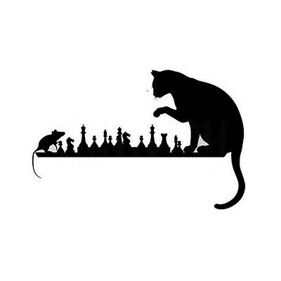 Car Sticker Chess Cat Mouse Art Animals Vinyl Decal Decorative Cartoon Car Door