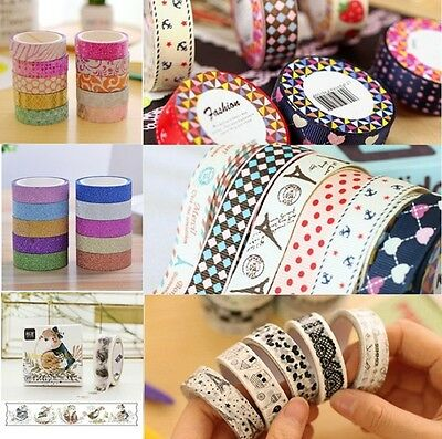 10 Rolls Washi Paper Scrapbooking Decorative Paper Sticker Masking Adhesive Tape