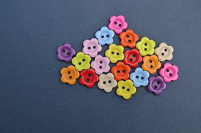 Flower 20 Resin Buttons 15 Mm Fabric Craft Scrapbooking Embellishment Colourful